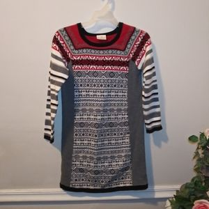 EUC Hanna Andersson Red/Black Nordic Sweater Dress